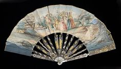 Fans originated from Japan. Fans were used to show off the hands and often told a story through the pained images. Some of the materials of choice where ivory, mother of pearl, and tortoiseshell.