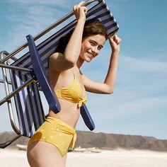 Yellow polka dots bikini Bikini Swimwear, Swimsuits, Bikinis, Polka Dot Bikini, Polka Dots, Bikini Ready, Sports Images, Summer Beach, Bikini Girls