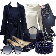 Navy and cream Winter Outfit