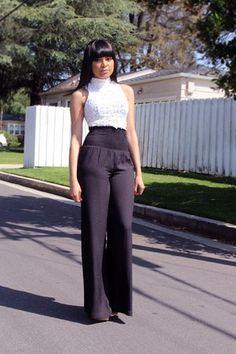 Black Bebe Wide Leg Pants · White Charlotte Russe Crochet Top. Visit: www.chictopia.com