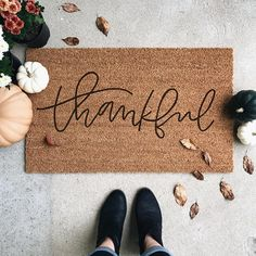 Thankful Welcome Mat Door Mat Hand Painted Housewarming Boutique Interior, Fall Home Decor, Autumn Home, Fall Doormat, Front Door Mats, Front Porch, Welcome Mats, My Living Room, Cottage Living