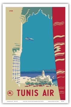 Tunisie, Afrique - Tunis Air (Société Tunisienne de l'Air) - Vintage Airline Travel Poster by Even 1930 - Reproduction Professionelle d'art Master Art Print - 31cm in x 46cm