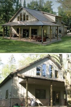 45 Durable & Beautiful Steel Homes That You Have To See - House Topics Steel homes are on their uptrend currently, because they have long life time, are very durable, fast to built and eye-catching too! Metal Pole Barns, Pole Barn Homes, Metal Barn, Residential Steel Buildings, Metal Buildings, Steel Frame House, Steel House, Steel Building Homes, Building A House
