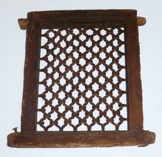 ANGLO INDIAN TEAK WINDOW WITH IRON GRILL