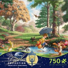 """Have fun with Pooh and friends with this puzzle from Ceaco. - Manufacturer: Ceaco - Item #: 2903-9 - Puzzle Size: 24"""" x 18"""" - Piece Count: 750"""