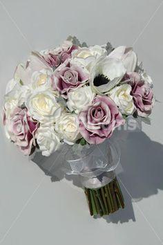 Silk Purple Bridal Bouquet Shabby Chic By