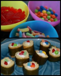 Great for birthday parties! Tutorial for junk food sushi