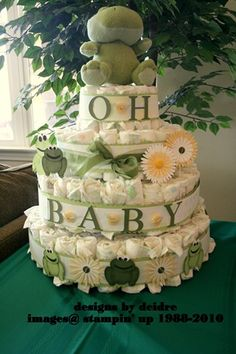 froggy diaper cake