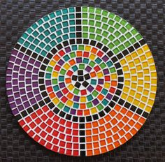Chakra colour wall piece Mosaic Tile Table, Mosaic Art, Mosaic Glass, Mosaic Crafts, Mosaic Projects, Free Mosaic Patterns, Mosaic Stepping Stones, Diy Bird Bath, South African Art