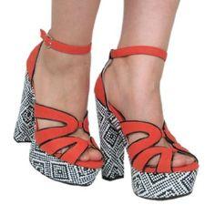 Womens Qupid Orange Nubuck High Heel Platform Open Toe Strappy Peep Toe Sandals (Gossip32) - Price:$29.99
