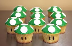 These adorable Super Mario cupcakes are the infamous mushroom. They are easy to make and please any classic gamer. These adorable Super Mario cupcakes are the infamous mushroom. They are easy to make and please any classic gamer. Super Mario Cupcakes, Super Mario Party, Super Mario Costumes, Mario Bros Y Luigi, Mario Bros Cake, Mario Kart Cake, Bolo Do Mario, Bolo Super Mario, Mario Birthday Cake