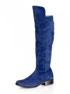 Vysoké čižmy nad kolená z pravej kože Ema 040 modré