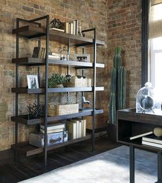 Starmore - Brown - Bookcase by Signature Design by Ashley. Get your Starmore - Brown - Bookcase at Discount Home Furniture, Burnsville MN furniture store. Regal Industrial, Industrial House, Urban Industrial, Industrial Shelving, Industrial Office Design, Industrial Pipe, Modern Industrial Decor, Industrial Style, Modern Rustic