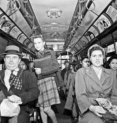Baltimore, Maryland. School children and workers returning home on a trolley at five pm, 1943