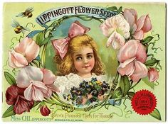 "Pink is the order of the day for this 1904 Carrie Lippincott catalog cover.  Pictured are pink sweetpeas and a pink-cheeked girl with a pink hair bow.  Carrie Lippincott, the self-proclaimed ""pioneer seedswoman"" and ""first woman in the flower seed industry"" established her mail-order flower seed business in Minneapolis in 1891. Sending out smaller 5 inch by 7 inch catalogs with colorful covers, her business was aimed at women customers."