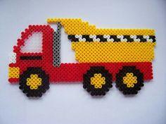 Tipper Truck / hama perler beads / Bügelperlen by JohnsonKathy Perler Beads, Perler Bead Art, Fuse Beads, Melty Bead Patterns, Pearler Bead Patterns, Perler Patterns, Beading Patterns, Peyote Patterns, Quilt Patterns