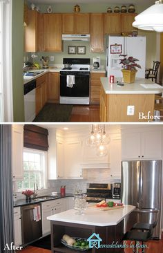 What a fantastic kitchen makeover. Same cabinets with creative fixes. Need to study this one more...