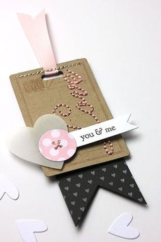 Button Boutique Revisited: You & Me Tag by Heather Nichols for Papertrey Ink (January 2014) Card Tags, Gift Tags, Pochette Diy, Valentines Day Cards Diy, Tarjetas Diy, Candy Cards, Handmade Tags, Scrapbook Embellishments, Paper Tags