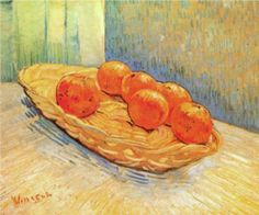 """Vincent van Gogh, """"Still Life with Basket and Six Oranges,"""" 1888 via Feasting on Art"""
