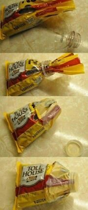 Nifty idea.  I hate when you try to pour out 'a few' chocolate chips and half of them end up on the floor and counter.