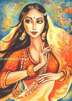 India Beautiful  Woman Girl Dance Ethnic Dancer Bollywood - Flame - Art Print…
