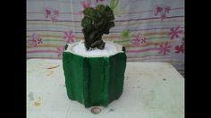 como fazer  vaso de cimento com formato de cacto!