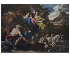 """Domenico Guidobono (Savona, 1668 - Napoli, 1746) """"Il viaggio di Giacobbe e Rachele"""", olio su tela, cm 162x213. Per info: info@antichitagiglio.it"""