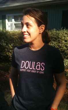 Our new Heather Grey and Pink Doula Tshirts, in stock and ready to ship! $22.50 www.YourDoulaBag.com