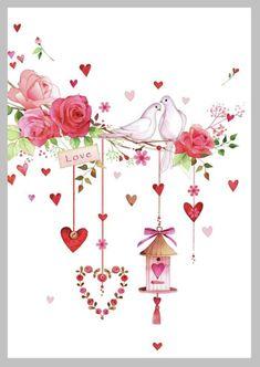 Hearts - Doves - Flowers - Bird Feeder - Pink - All Favorites ! Valentines Art, Be My Valentine, Cute Illustration, Watercolor Illustration, Art Carte, Creation Photo, Rose Wallpaper, Vintage Cards, Doodle Art