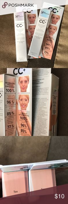 It Cosmetics CC+ Cream (Sample Size) Color correcting full coverage cream and anti-aging serum! The color is tan. You will receive both samples. It Cosmetics Makeup Foundation