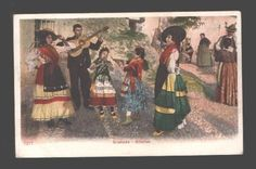 SPAIN Granada Gitanos dance Gipsy Vintage lithograph PC