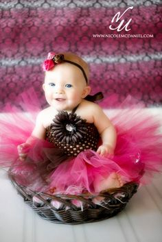 baby girls tutu dress brown and pink with by cutiepiegoodies, $30.00