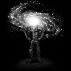 Mr. Galaxy #astronaut #galaxy #nature #surreal #art #illustration #blackandwhite #stars