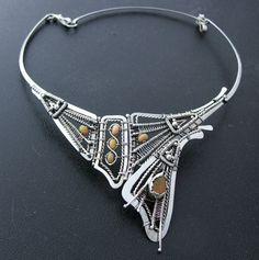 Silber Halskette mit opal von NataWire auf Etsy