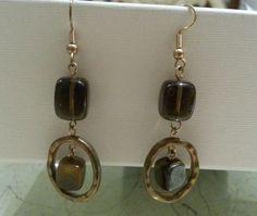 Vintage greenish brown tone pierced earrings with square and loop in Earrings | eBay