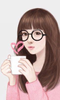 Gambar Kartun Korea Wanita Cantik Berkacamata O Girl Sketch