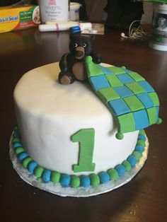 Baby's 1st Birthday Cake.  Bear with Blanket