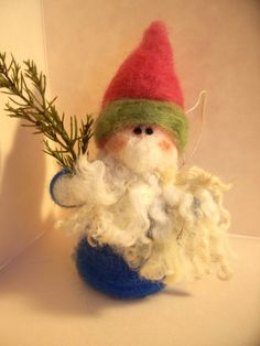 Gnome Wool Wrapped and Felted Ornament by WhimsicalWoolies on Etsy