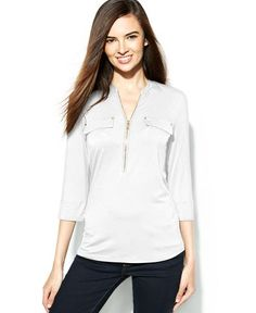 Calvin Klein Roll-Tab-Sleeve Zip-Front Top - Wear to Work - Women - Macy's
