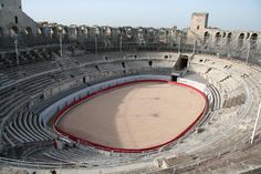 Roman Amphitheater, Arles, France. Interior with arena