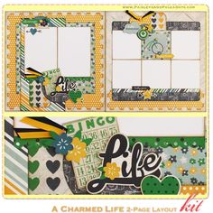 A Charmed Life 2-Page Layout Kit, complete with instructions, by PaisleysandPolkaDots.com for a limited time featured at www.scrapclubs.com