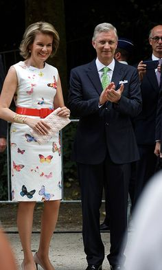 Queen Mathilde of Belgium looked stunning in a butterfly print white frock while accompanying King Philippe to a Royal Visit to the 'Fete au…