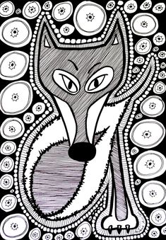 Free coloring page «coloring-difficult-fox». Black & white drawing of a fox composed of many elements and shapes, color it by choosing colors representing your mood