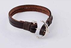 Pulseira Masculina de couro marrom e aço Inox Âncora - comprar online