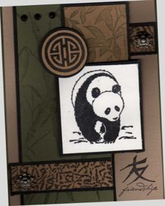 Stampin' Up! ...  Asian Friendship by jojot ... panda image as main focal point ... lots of black matted layers ... earthy brwons and green ... great card!
