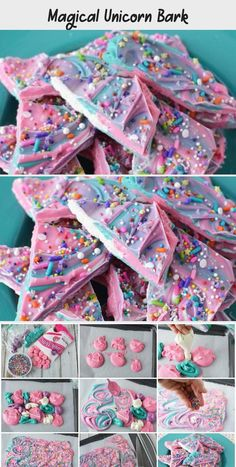 Fun and easy unicorn bark makes for a magical party treat! Fun and easy unicorn bark makes for a magical party treat! Homemade Birthday Decorations, Elegant Party Decorations, Princess Party Decorations, Balloon Decorations Party, Candy Melts, Unicorn Sprinkles, Magical Unicorn, Party Treats, Mini