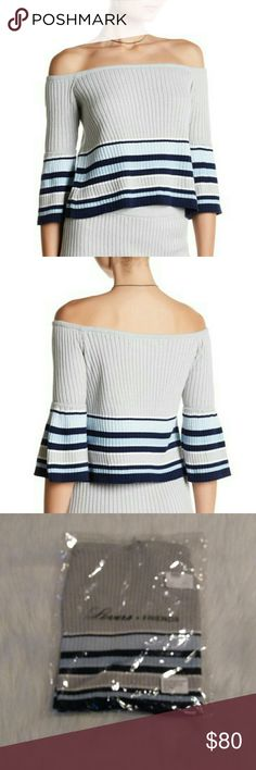 """Skye Off the Shoulder Stripe Knit Blouse Show off your shoulders in this off the shoulder 3/4 sleeve know blouse with striped print details. Off the shoulders 3/4 length sleeves Knit construction Striped print Approx 17"""" length Size small Lovers + Friends Tops Blouses"""
