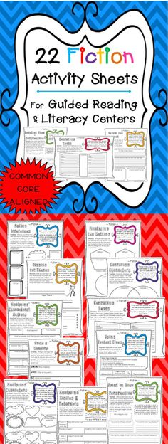 Fiction Activity Sheet that are perfect for Literacy Centers and Guided Reading Lessons.  Just pair them with a text, and POOF...you have a perfect activity! Paid