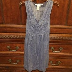 Max Studio Size Small Small Dress This cotton dress has the look and feel of super soft linen. It's super cute on, with a plunging neckline and decorative waist detailing. The back has elastic to give this dress a comfortable fit. Worn once in perfect condition. Max Studio Dresses
