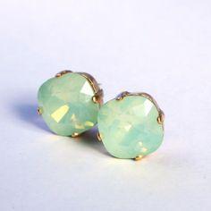 Mint Green Opal Crystal Stud Earrings Classic Sparkling Seafoam Solitaire Swarovski 12mm or 10mm Sterling Post & Copper - Women's Jewelry
